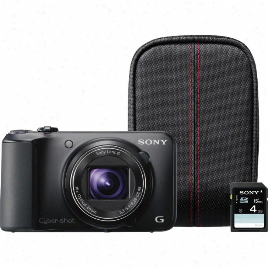 Sony Cyber-shot® Dsc-h90/v 16 Megapixel Digital Camera Bundle - Black