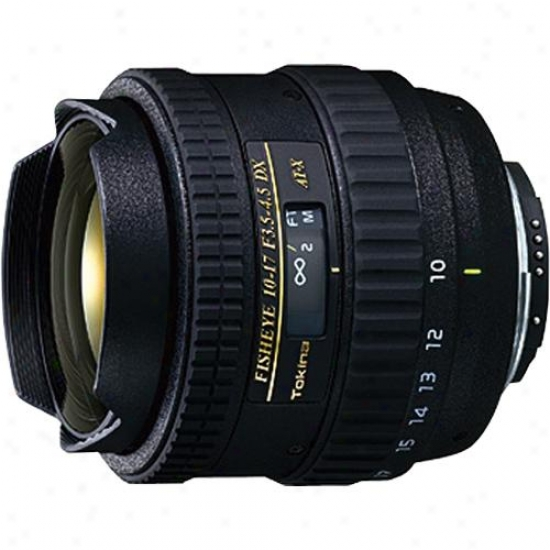 Tokina 10-17mm F/22 - F/3.5-4.5 Fish-eye Zoom Lens Against Canon - At-xaf107dxc