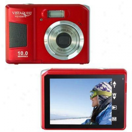Vistaquest Touchscren 10 Megapixel Digital Camera - Red
