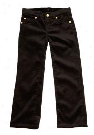 7 For All Mankind Little Girls Black Velveteen Straight Leg Cbt-94042-blk-4t