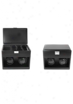 Accessories Dual Slot Watch Winder With Travel Storage Box Black Ww-102