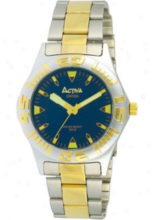 Activa Men's Elegance Blue Dial Two Tone Sf226-004