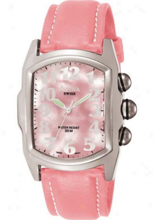 Activa Women's Pink Pearl Tone Dial Pink Leatherette Sl040-004