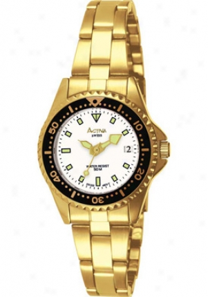 Activa Women's White Dial Gold Ton eStainless Steel Sv235-004