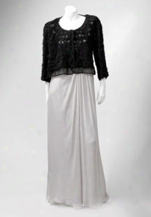 Alberta Ferretti Black Allover Crinile Chiffkn Rosette Jacket Ja-v0515126-blk-44