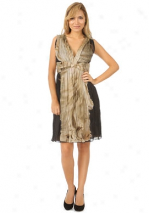 Alberta Ferretti Black And Beige Pleated Dress Dr-a04310135-bb42