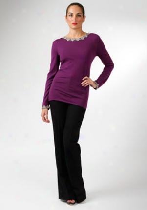 Alberta Ferretti Fuchsia Embellished Wool Top Wtp-a09045-fux-46