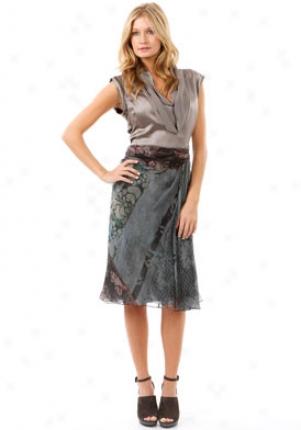 Alberta Ferretti Grey Multicolor Print Sikl Skirt Wbt-a01146648-g-46