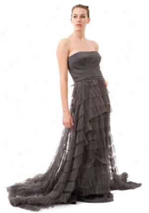 Alberta Ferretti Grey Silk Ruffle Strapless Dress Dr-a04295161-gr-44