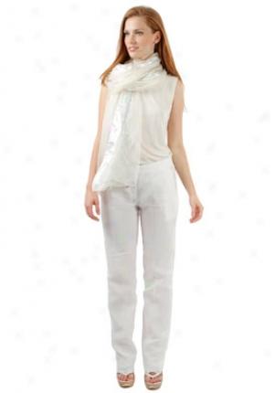 Alberta Ferretti Silver Extended Sheer With Mefallic Thread Scarf Sc-a330301-sios