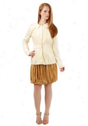 Alberta Ferretti White Pleated Metallic Coated Jacket Ja-a2503122-wh44