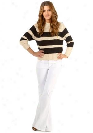 A.l.c. Beige & White Striped Knitted Swearer Wtp-s9229-strblk-p