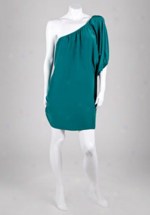 Alex Lane Teal One Shoulder Bell Sleeve Silk Dress Dr-3-096-blue-s