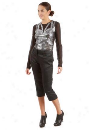 Alexander Mvqueen Black Jacquard Cropped Trousers Wbt-5063qp102-bk44