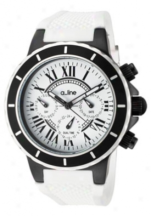 A_line Women's Marina Dual Time White Dial Black Ip Case Whiet Silicone 20104