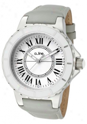 A_line Women's Marina White Dial Grey Leather 20011