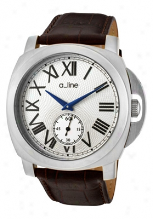 A_line Women's Pyar Silver Dial Brown Leather 80007-02-br