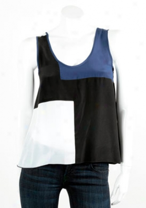 Alisha Levine Navy, Black And White Color Block Cistern Top Wtp-su06031i-navy-p