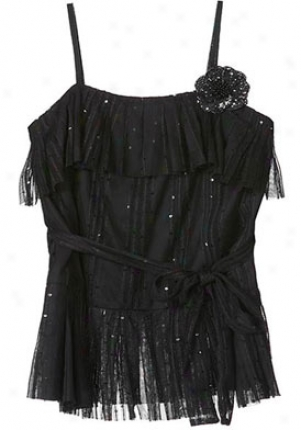 Anna Sui Black Sleeeveless Sequin Top Wtp-00113041l