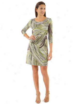 Argenti Green Tracery Print Three-quarter Sleeve Dress Dr-6015-green-14