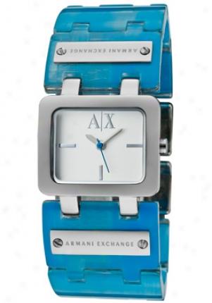 Armani Excyange Women's Silver Dial Blue Transparent Plastic Ax3110