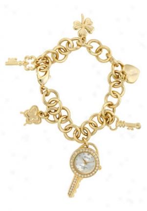 Arnex Women's Silver Dial Gold Tone Base Metal Round Link Charm Bracelet Ax2032yl