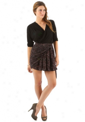 Athe Vanessa Bruno Black & Red Floral Print Skirt Wbt-1haa08a070163-r50