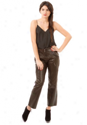 Barbara Bui Dark Brown Leather Pants Wbt-r7690lvr-dbr-42
