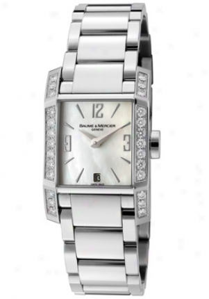 Baume & Mercier Women's Diamant White Diamond Pale Mop Dial Stainless Steel Moa08666