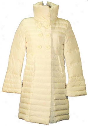 Betsey Johnson Ivory 3/4 Length Down Jacket Ja-y220164-ivory-s