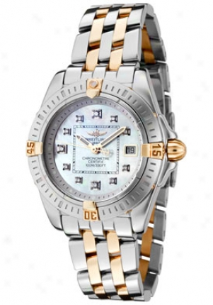 Breitling Women's Windrided White Diamond White Motuer Of Pearl Dial Two Tone B7135612/a583