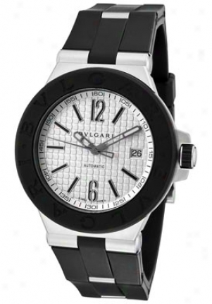 Bulgari Men's Diagono Classic Mechanical/automatic White Textured Dial Black Rubber Dg40c6svd