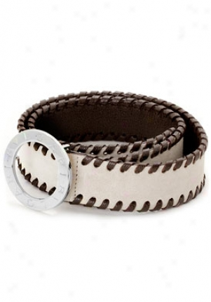 Bulgair Women's Beige Suede And Dark Brown Calf Leather Belt Sz. 2 23529/beige/dkbrown