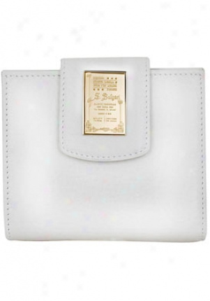 Bulgari Women's Bi-fold Dusty White/light Gold Wrinkled Leather Wallet 27085/wht/lightgold