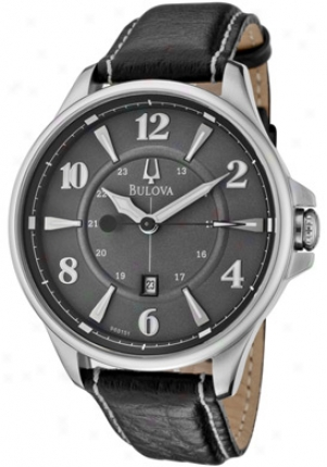Bulova Men's Adventurer Grey Dial Black Leather 96b151