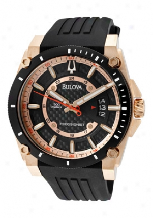 Bulova Men's Champlain Precisionist Black Carbon Fiber Dial Black Rubber 98b152