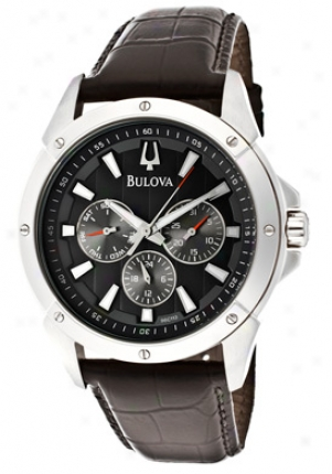 Bulova Men's Marine Asterisk Black Textured Dial Black Genuine Leather 96c113