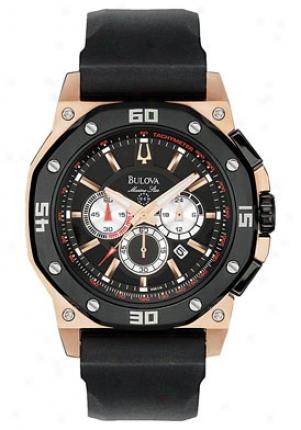 Buoova Men's Marine Star Chronograph Black Rubber 98b118