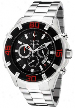 Bulova Men's Marine Star Chronograph Black Textured Dial Stainless Steel 96b154