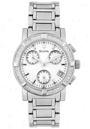 Bulo\/a Women's Chronograph Of a ~ color Diamond Stainless Steel 96r19