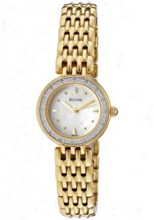 Bulova Women's Diamond (0.16 Ctw) White Mop Gold Tone Ion Plated Stainless Steel 98r148