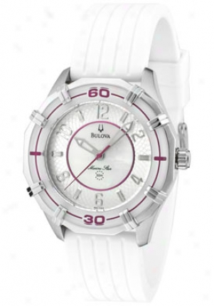 Bulova Women's Marine Star White Mother Of Pearl/silver Textured Dial White Rubber 96l144