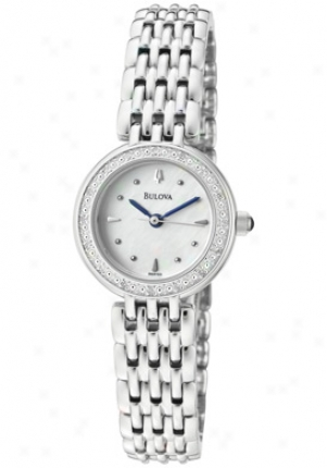 Bulova Women's White Dial With Diamonds Stainless Steel 96r150