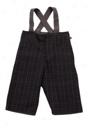 Cacharel Baby Boy Navy Plaid Pants With Suspenders Cbt-199003-3m