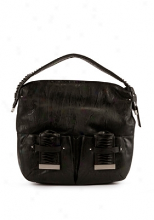 Calvin Klein Black Faux Leather Hobo Cchbj010-blk