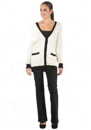 Carolina Herrera Cream & Black Silk Cardigan Wtp-0092swt-bc-xl
