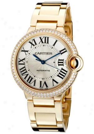 Cartier Ballon Bleu De Cartier Automatic White Diamond 18k Gold We9004z3