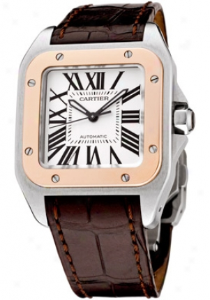 Cartier Medijm Santos 100 Automatic 18k Rose Gold And White Alligator M W20107x7
