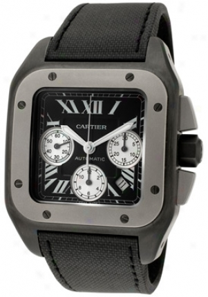 Cartier Men's Santos 100 Xl Automatic Chrono Black Titanium Blacj Toile De Voile W2020005