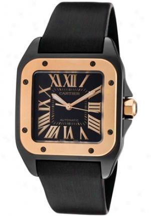 Cartier Men's Santos Black iDal Stainless Steel W2020007